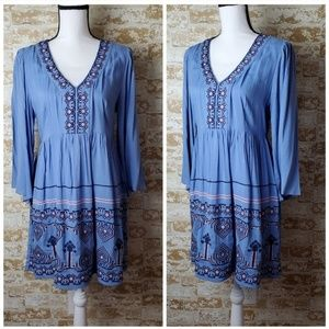 Anthropologie Periwinkle Blue Embroidered Dress